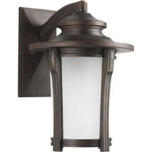 Pedigree Autumn Haze 12-Inch One-Light Outdoor Wall Sconce with Etched Seeded Shade