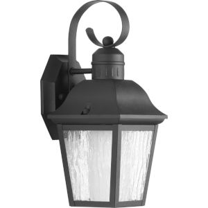 Andover Textured Black Six-Inch One-Light Outdoor Wall Sconce with Clear Seeded Shade