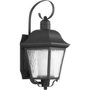 Andover Textured Black Eight-Inch One-Light Outdoor Wall Sconce with Clear Seeded Shade