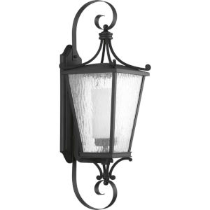 Cadence Textured Black 10-Inch One-Light Outdoor Wall Sconce with Clear Seeded Water Shade