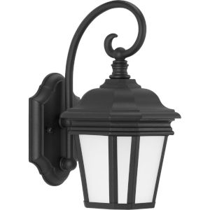 Crawford Textured Black Seven-Inch One-Light Outdoor Wall Sconce with Etched Shade
