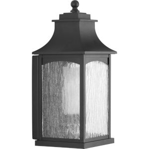 Maison Textured Black Seven-Inch One-Light Outdoor Wall Sconce with Clear Water Seeded Shade