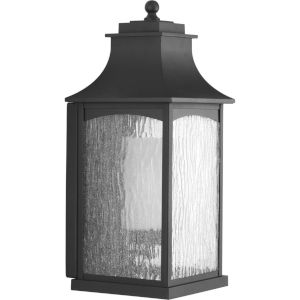 Maison Textured Black Nine-Inch One-Light Outdoor Wall Sconce with Clear Water Seeded Shade
