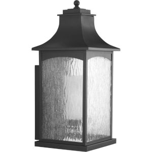 Maison Textured Black 11-Inch One-Light Outdoor Wall Sconce with Clear Water Seeded Shade