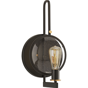 P710002-020: Looking Glass Antique Bronze One-Light Wall Sconce with Clear Seeded Glass
