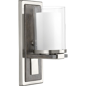 P710015-009: Mast Brushed Nickel One-Light Wall Sconce with Etched Glass