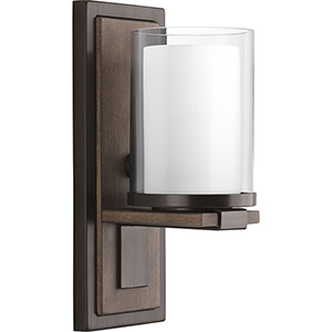 P710015-020: Mast Antique Bronze One-Light Wall Sconce with Etched Glass