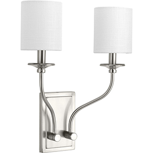 P710019-009: Bonita Brushed Nickel Two-Light Wall Sconce