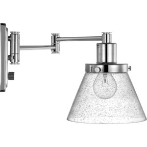 Hinton Polished Nickel One-Light ADA Wall Sconce with Clear Seeded Glass