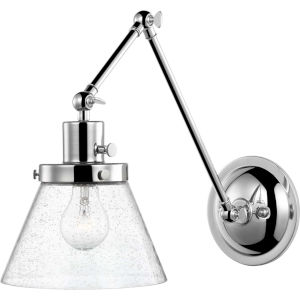 Hinton Polished Nickel Eight-Inch One-Light Wall Sconce with Clear Seeded Glass