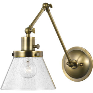 Hinton Vintage Brass Eight-Inch One-Light ADA Wall Sconce with Clear Seeded Glass