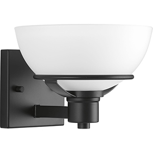 P300032-031: Domain Black One-Light Bath Sconce