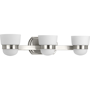 P300078-009: Index Brushed Nickel Three-Light Bath Vanity