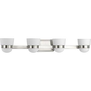 P300079-009: Index Brushed Nickel Four-Light Bath Vanity