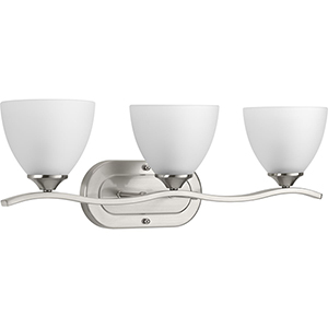 P300097-009: Laird Brushed Nickel Three-Light Bath Vanity