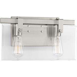 P300106-009: Glayse Brushed Nickel Two-Light Bath Vanity