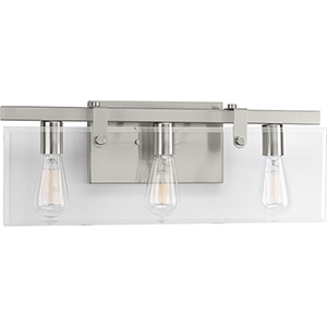 P300107-009: Glayse Brushed Nickel Three-Light Bath Vanity