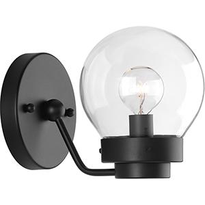 P300112-031: Spatial Black One-Light Bath Sconce