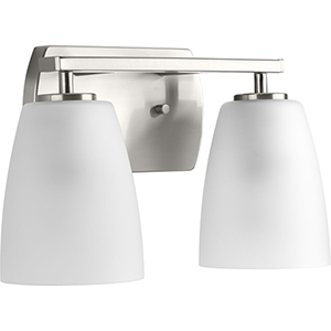 P300132-009: Leap Brushed Nickel Two-Light Bath Vanity