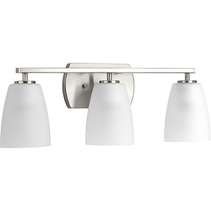 P300133-009: Leap Brushed Nickel Three-Light Bath Vanity