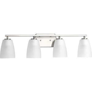 P300134-009: Leap Brushed Nickel Four-Light Bath Vanity