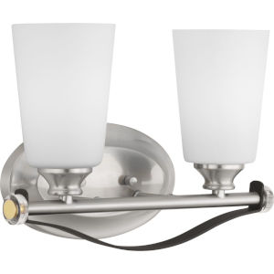 Nealy Brushed Nickel Two-Light Bath Fixture With Etched White Glass