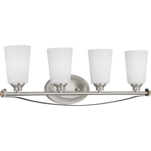 Nealy Brushed Nickel Four-Light Bath Fixture With Etched White Glass