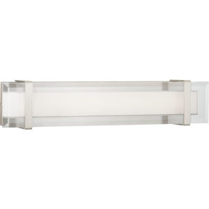 Brushed Nickel 24-Inch LED One-Light Bath Fixture With Transparent and White Glass