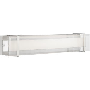 Brushed Nickel LED One-Light Bath Fixture With Transparent and White Glass
