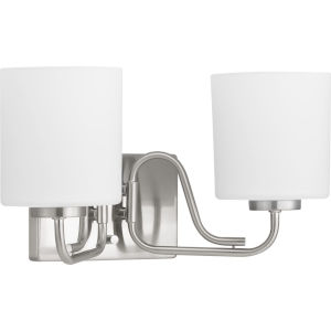 Tobin Brushed Nickel Two-Light Bath Fixture With Etched White Glass