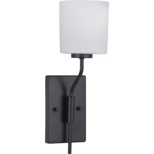 Tobin Black One-Light wall sconce With Etched White Glass