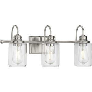 Aiken Brushed Nickel Three-Light Bath Vanity Light