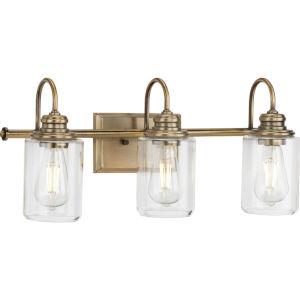 Aiken Vintage Brass Three-Light Bath Vanity Light