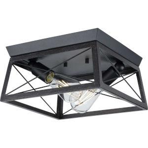 Briarwood Textured Black Two-Light Flush Mount Ceiling Light