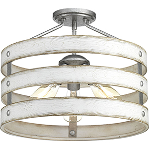 P350049-141: Gulliver Galvanized Three-Light Semi Flush Mount