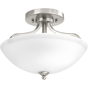 P350057-009: Laird Brushed Nickel Two-Light Semi Flush Mount