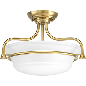 P350079-109: Tinsley Brushed Bronze Two-Light Semi Flush Mount