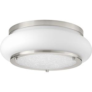 P350081-009-30: Opal-Linen LED Brushed Nickel Energy Star LED Flush Mount