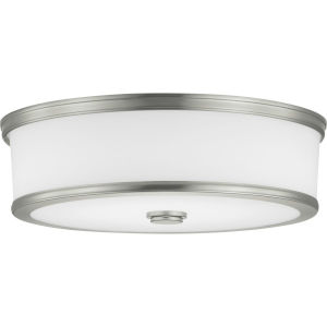 Bezel Brushed Nickel LED One-Light Flush Mount With Etched White Glass
