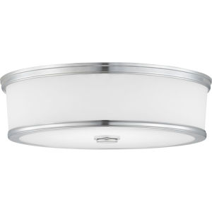 Bezel Polished Chrome LED One-Light Flush Mount With Etched White Glass