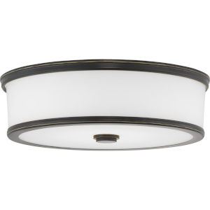 Bezel Antique Bronze LED One-Light Flush Mount With Etched White Glass