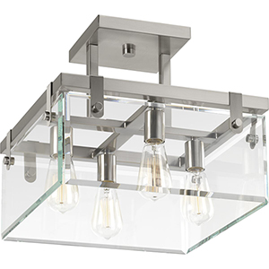 P350090-009: Glayse Brushed Nickel Four-Light Semi Flush Mount