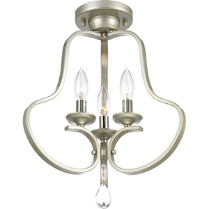 P350094-134: Anjoux Silver Ridge Three-Light Semi Flush Mount