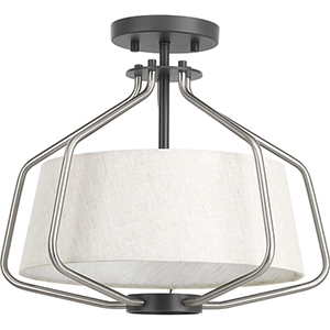 P350102-009: Hangar Brushed Nickel and Graphite Two-Light Semi Flush Mount