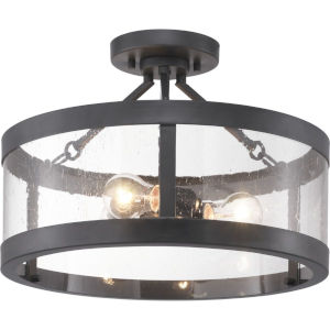 Gresham Graphite Three-Light Semi-Flush With Transparent Seeded Glass