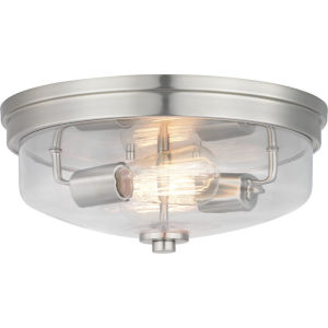 Brushed Nickel Two-Light Flush Mount With Transparent Glass