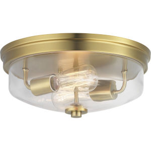 Brushed Bronze Two-Light Flush Mount With Transparent Glass