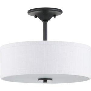 Graphite Two-Light Semi-Flush With Fabric Shade