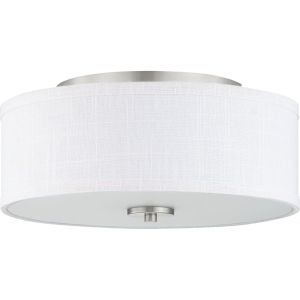 Brushed Nickel Two-Light Flush Mount With Fabric Shade