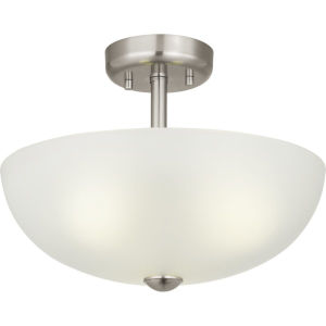 Brushed Nickel Three-Light Semi-Flush